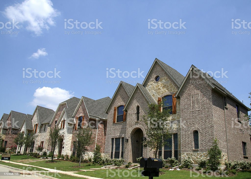 Row of New Homes, One is Sold! royalty-free stock photo