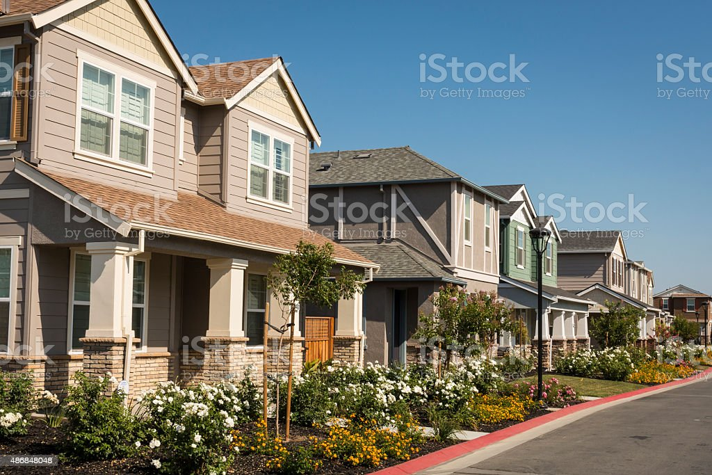 Row of New Houses stock photo