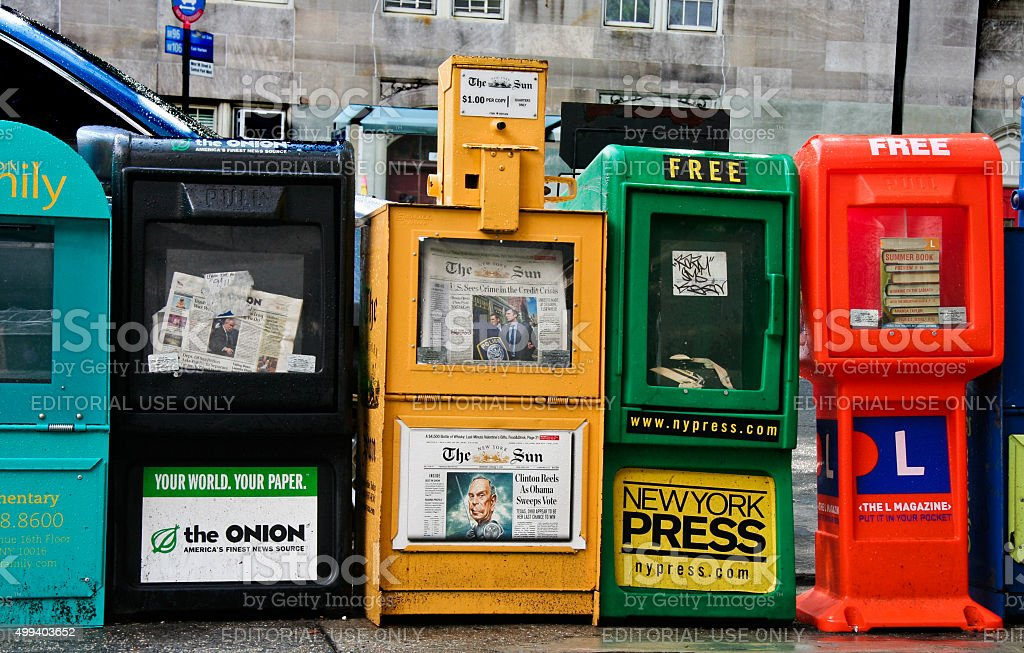 Row of newspaper boxes stock photo