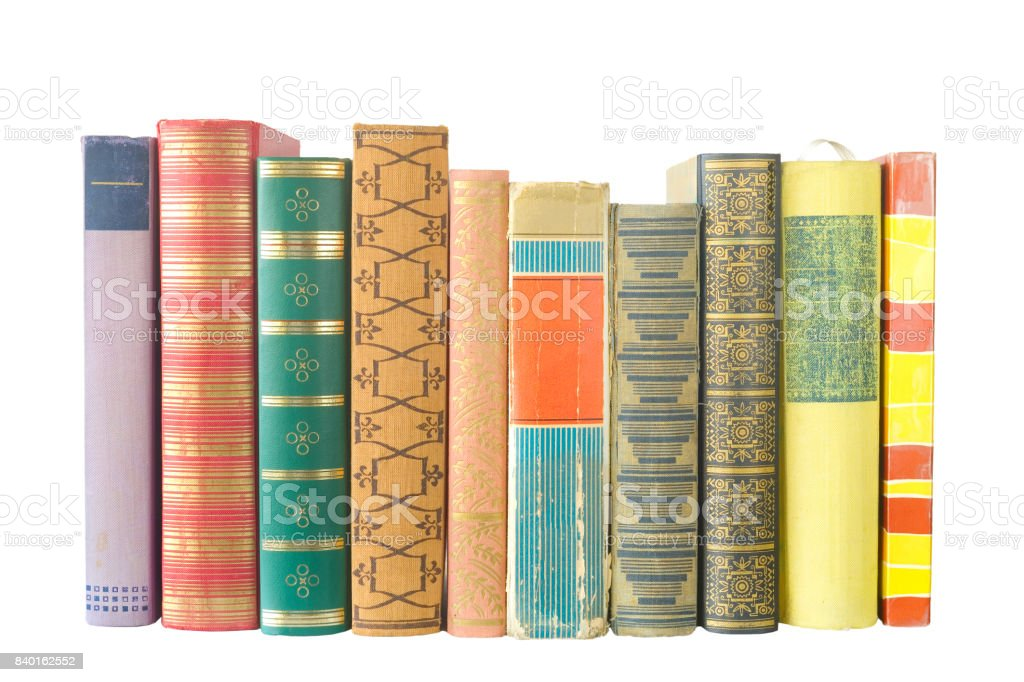 row of of books isolated stock photo