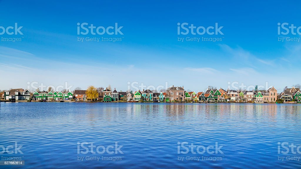 Row of old dutch traditional houses in Zaanse Schans and stock photo