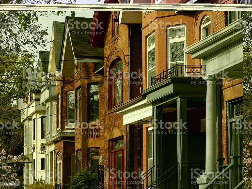 Row of old houses stock photo