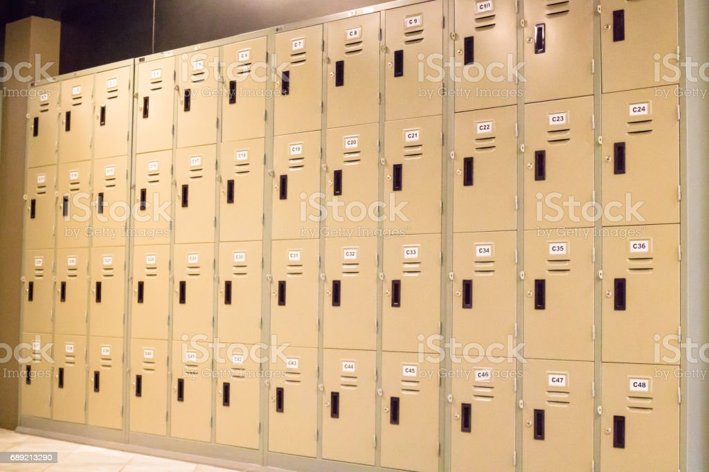 Row Of Old Lockers In School Hallway stock photo