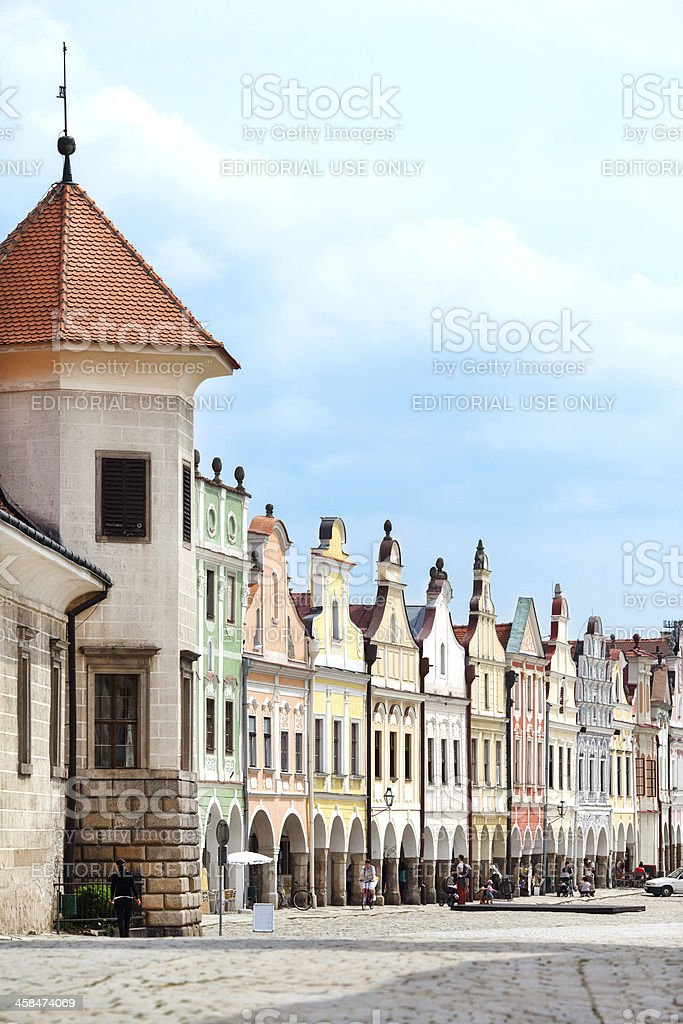 Row of old Renesaince houses in Telc, Czech Republic royalty-free stock photo