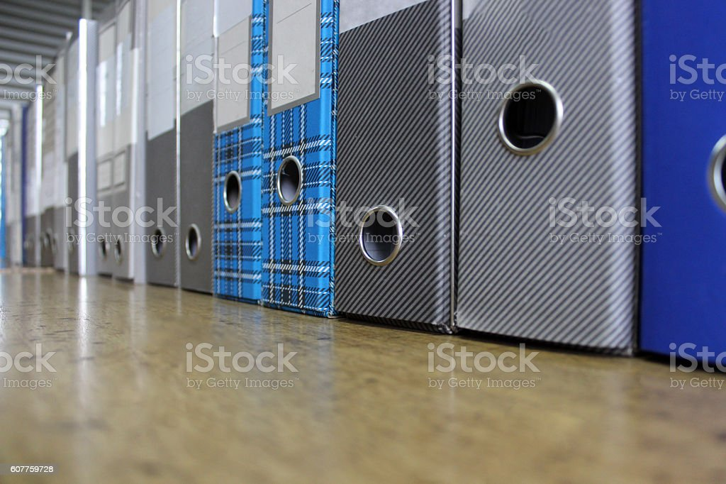 Row of old used Document Binders stock photo