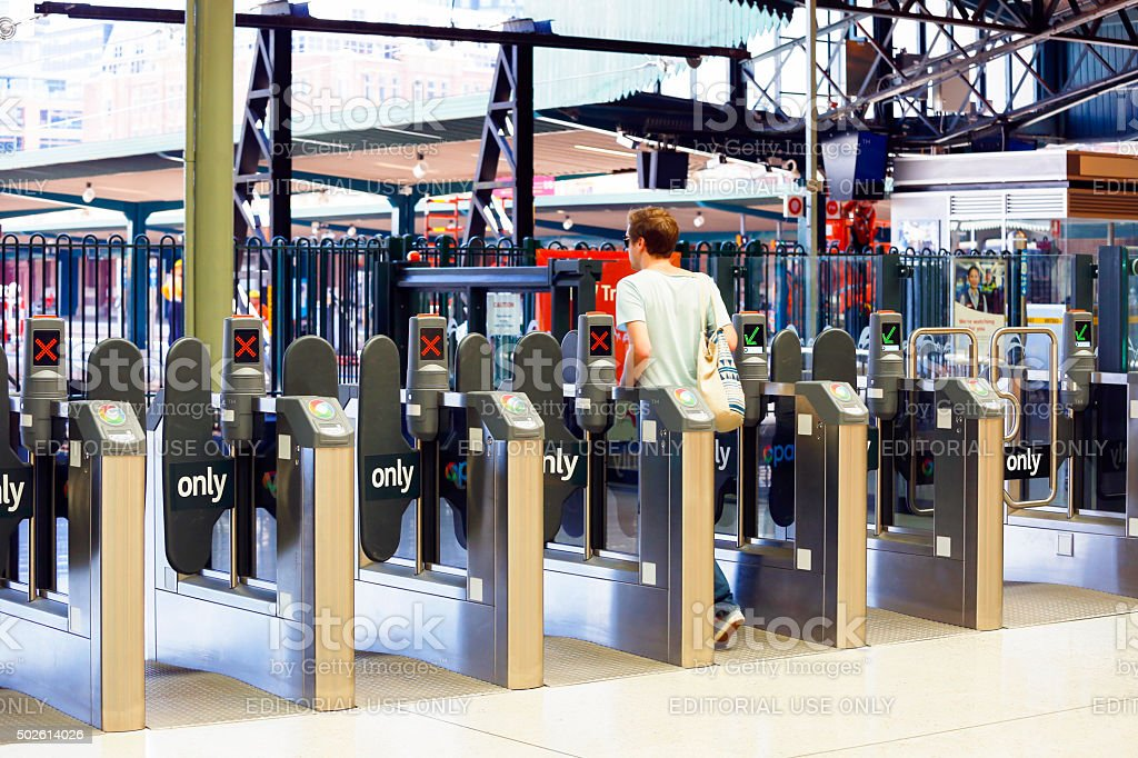 Row of opal cards ticket machines at the Central station stock photo