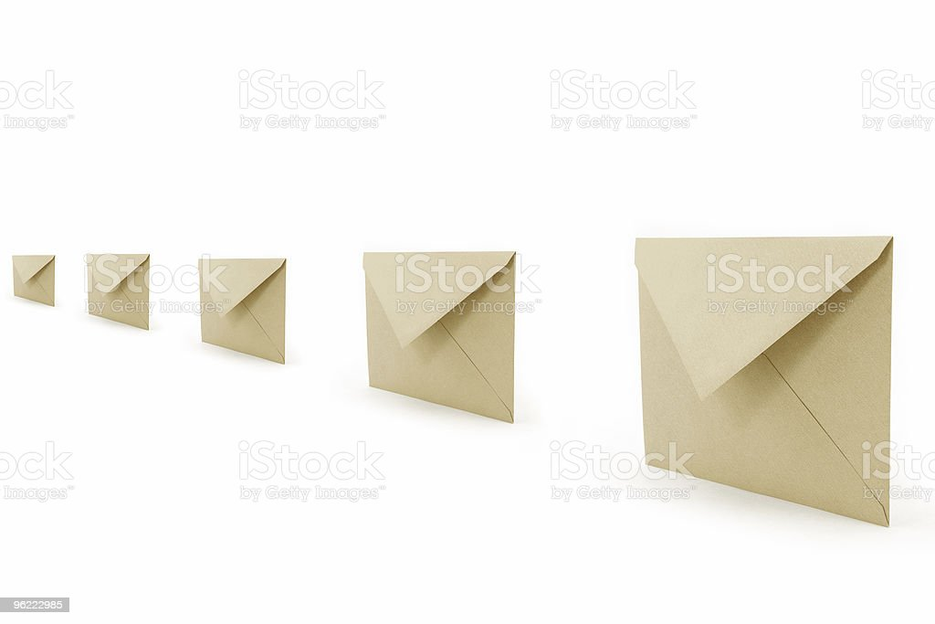 A row of opened envelopes on a white background royalty-free stock photo
