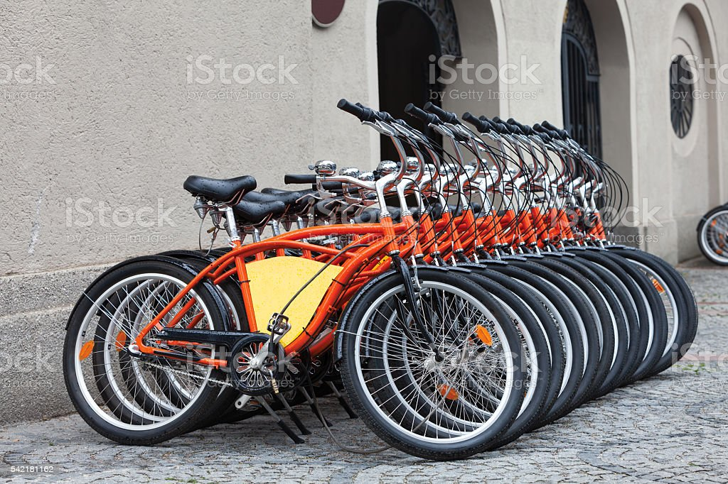 Row Of Orange Bicycles in Münich stock photo