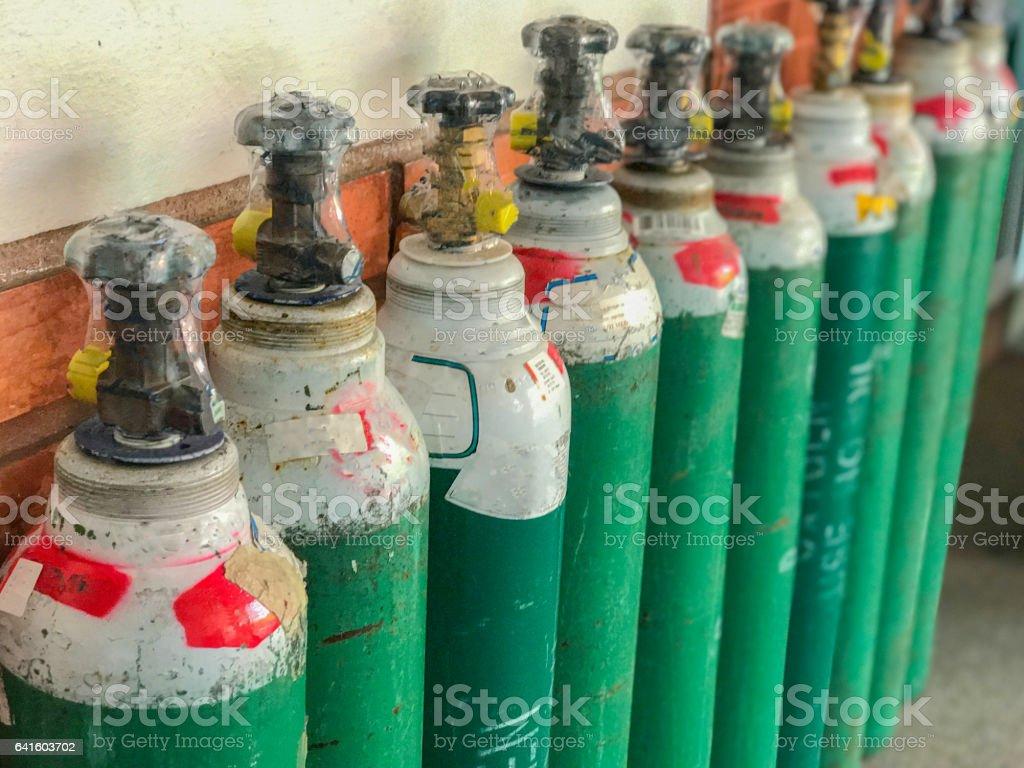 row of oxygen tank stock photo