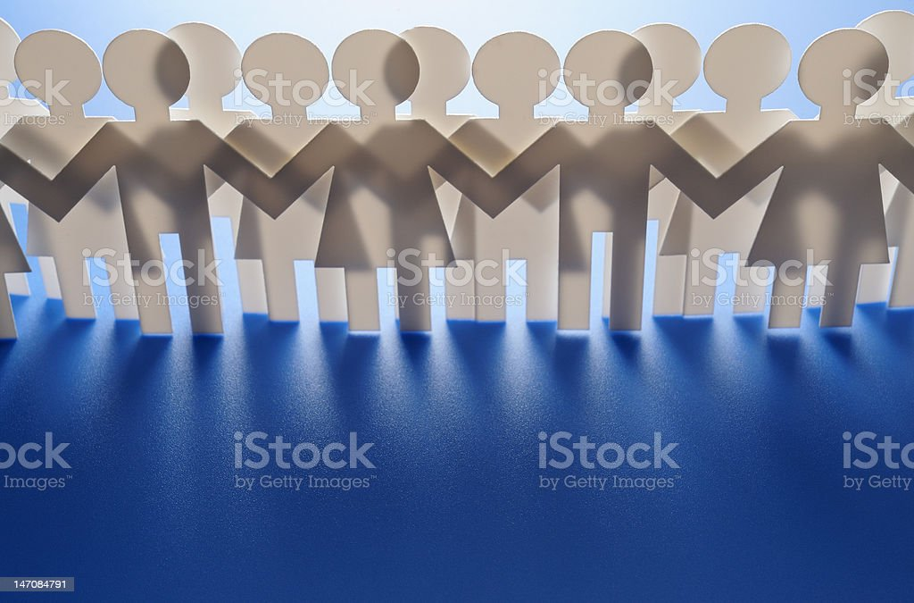 Row of paper people royalty-free stock photo