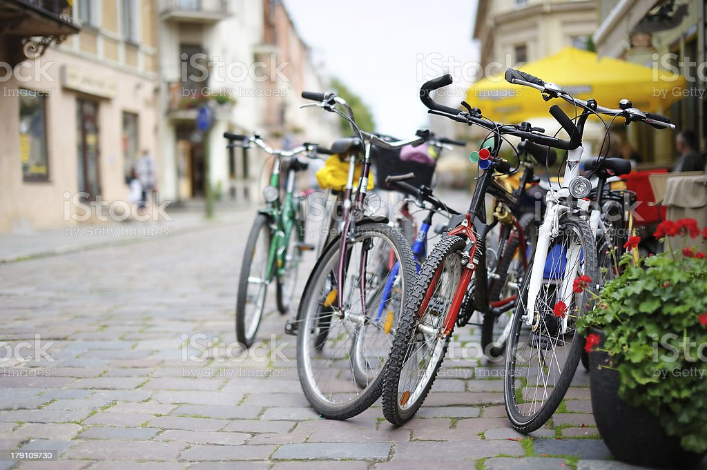 Row of parked colorful bikes royalty-free stock photo