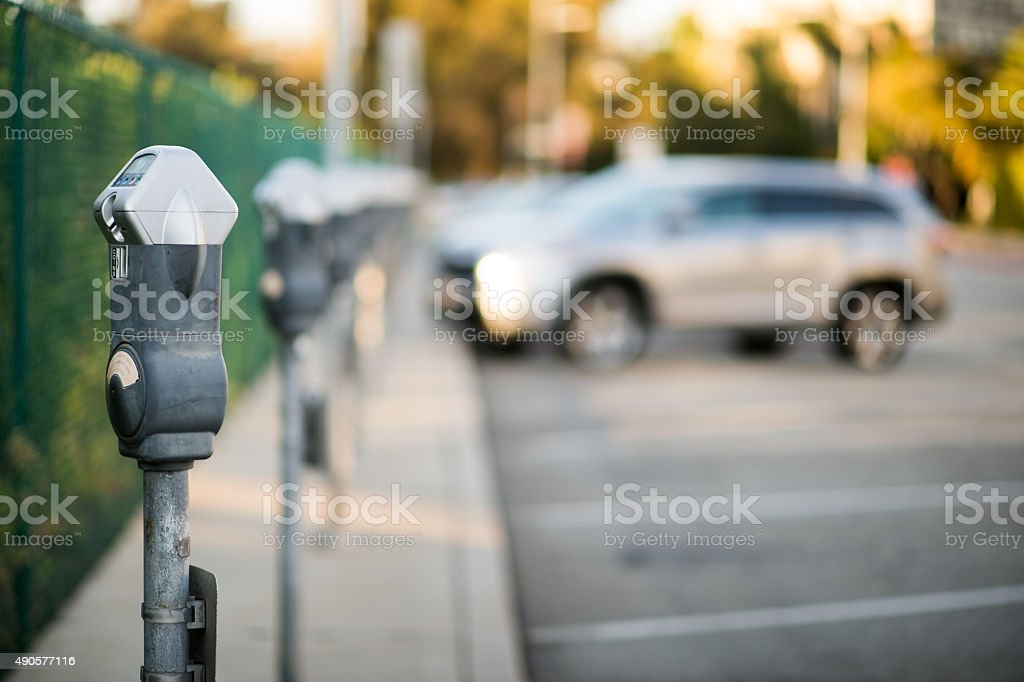 Row of parking meters stock photo