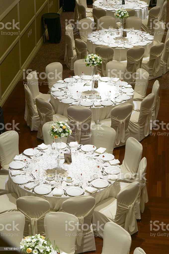 Row of Party tables royalty-free stock photo