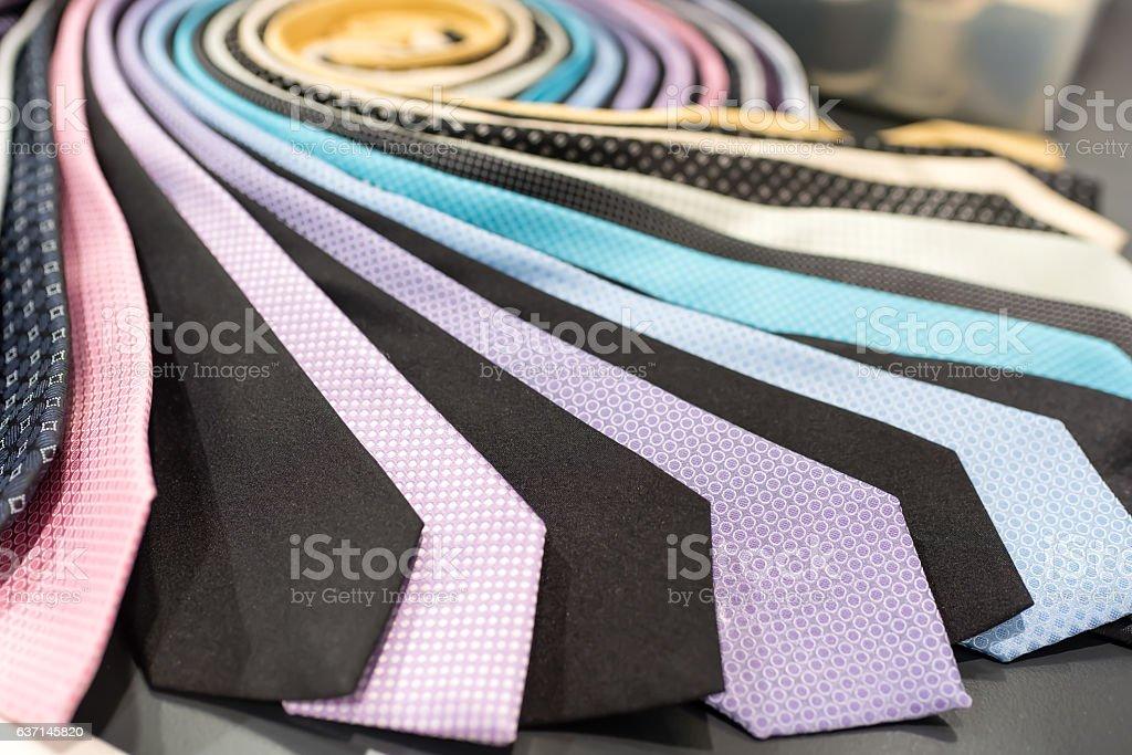 row of pastel neckties stock photo