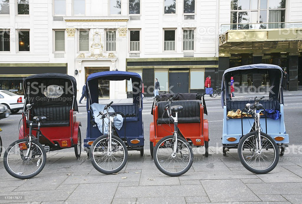 Row Of Pedicabs In Manhattan royalty-free stock photo