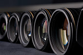 Row of photo lenses
