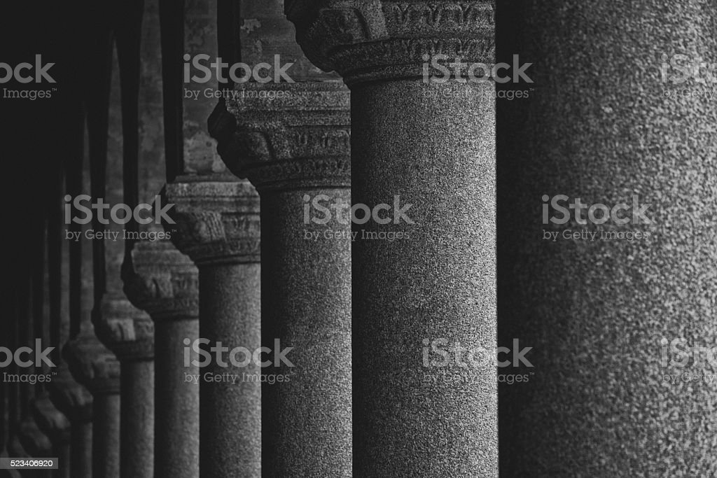 Row of pillars stock photo