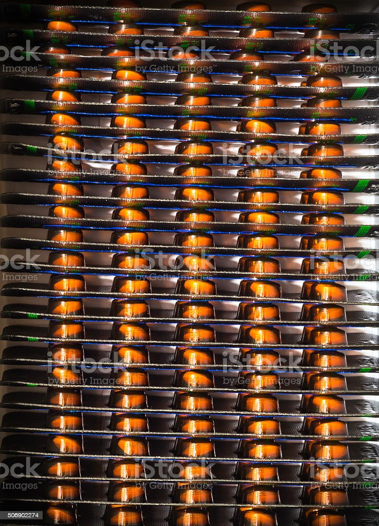 Row  of  pills in  blister pack stock photo