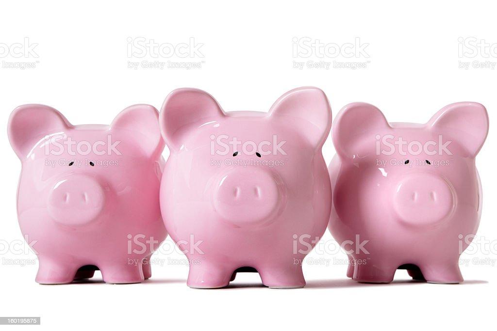 Row of pink piggy banks stock photo