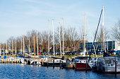 Row of pleasure sailingboats in Dutch harbor