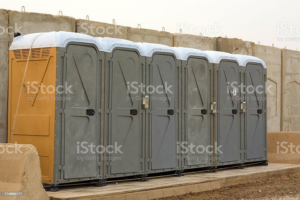 Row of Porta Potty stock photo