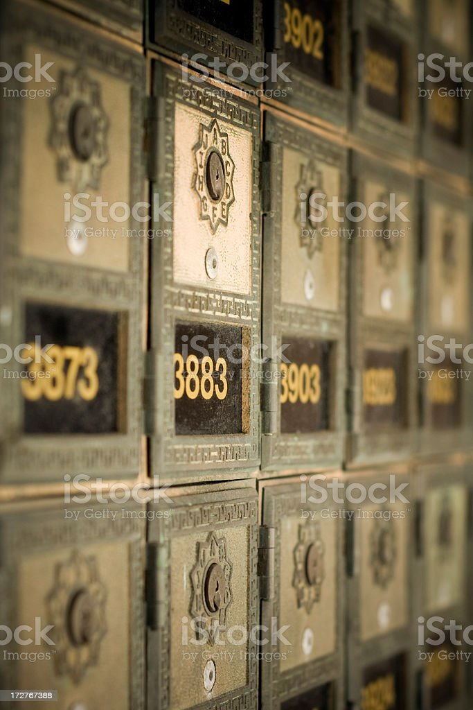 Row of Post Office Boxes stock photo