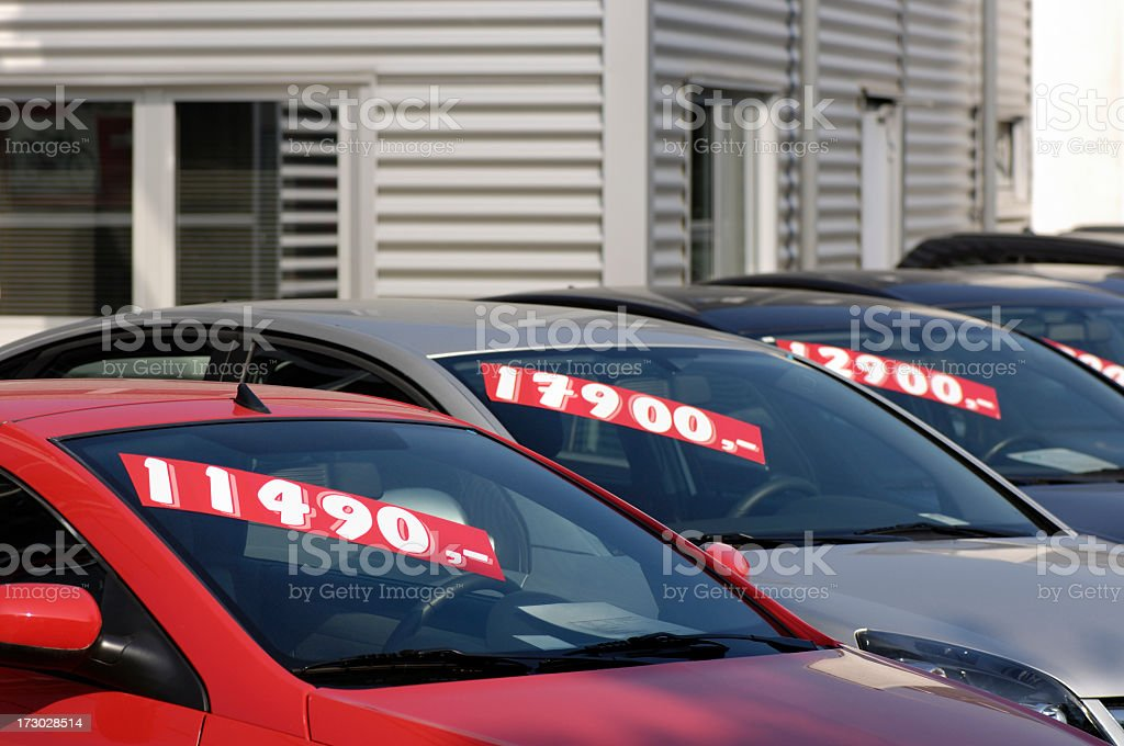 Row of pre-owned cars for sale stock photo