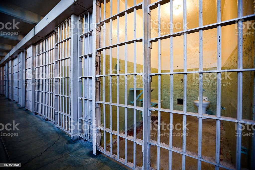 Row of Prison Cells stock photo