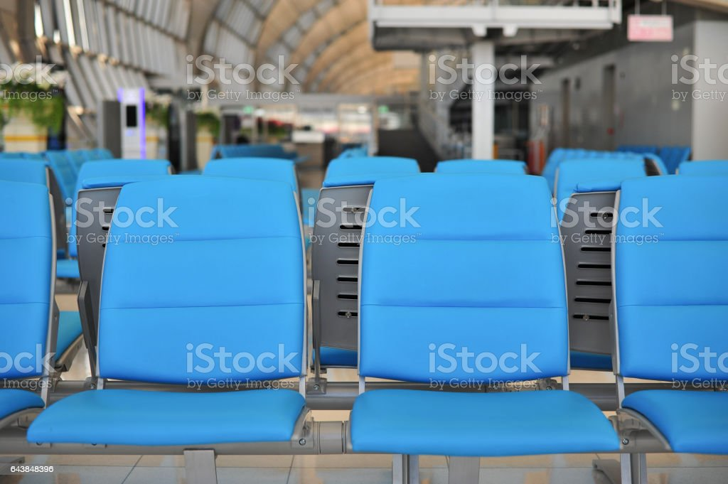 row of public chair for people waiting to  meeting stock photo