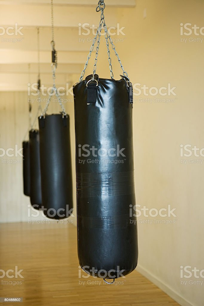 A row of punch bags stock photo