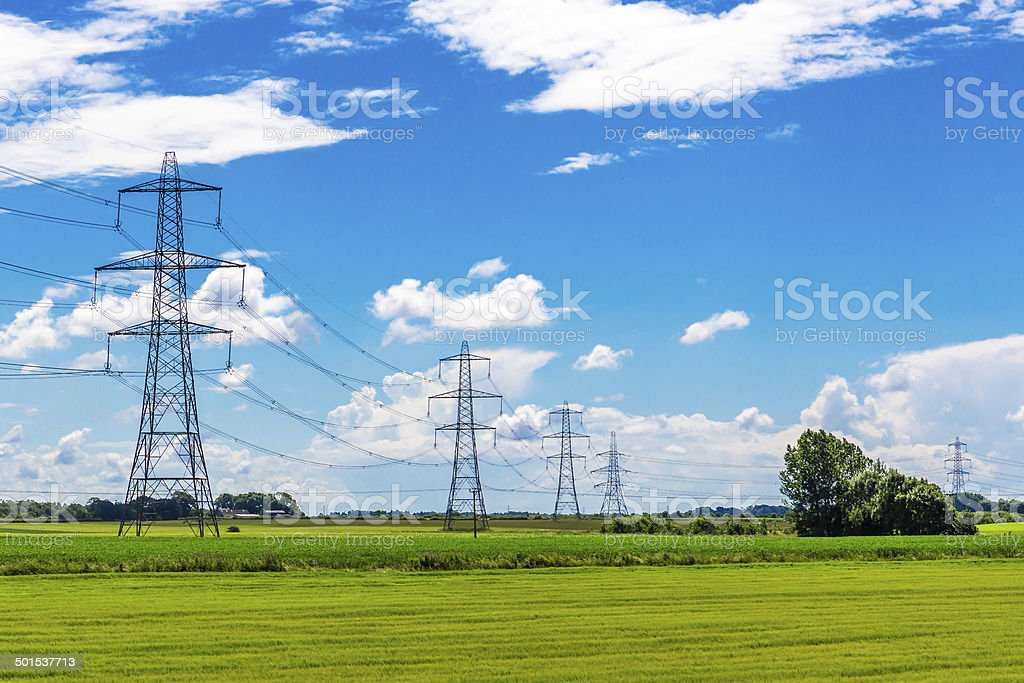 Row of Pylons stock photo