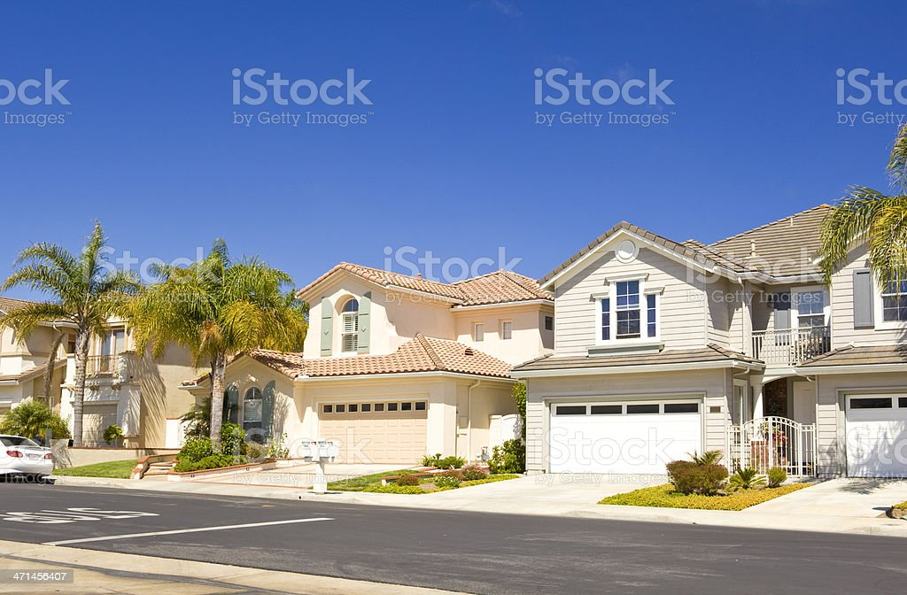 Row of real estate property houses in California stock photo