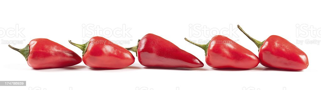 Row of Red Chili Peppers stock photo