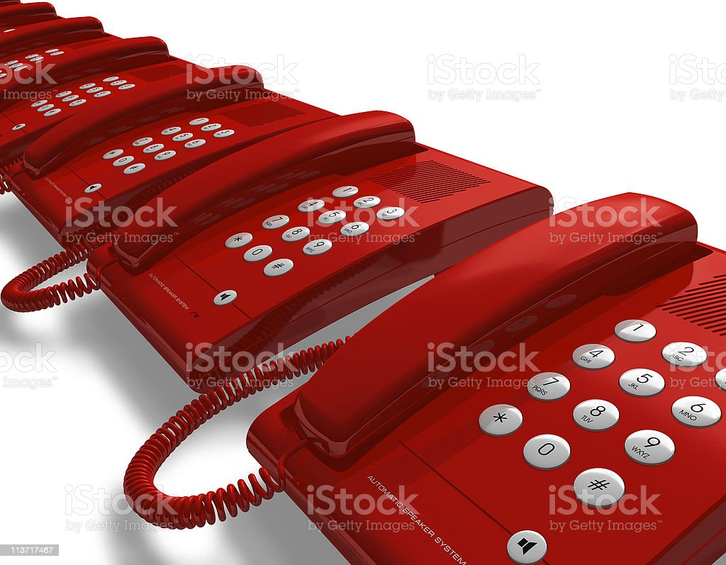 Row of red office phones stock photo
