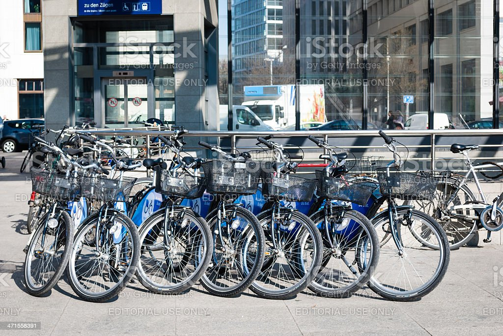 Row of rental bikes parked in Berlin royalty-free stock photo