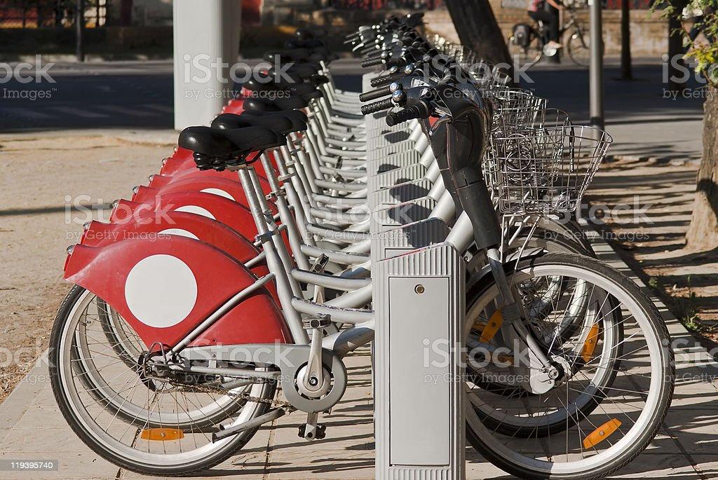 Row of Rental Bikes royalty-free stock photo