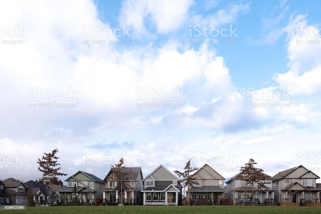 Row of Residential Houses with Copy Space stock photo