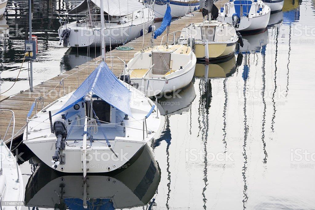 Row of Sailboats at Dock royalty-free stock photo