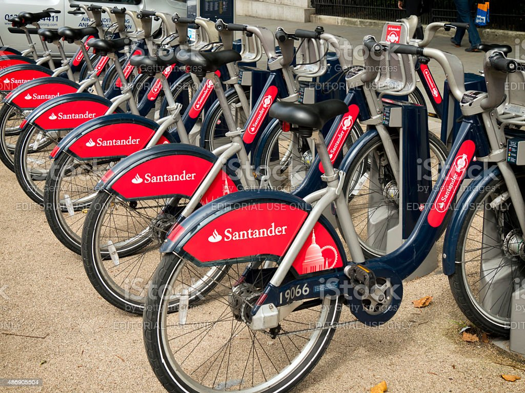 Row of Santander Cycles in St James's stock photo