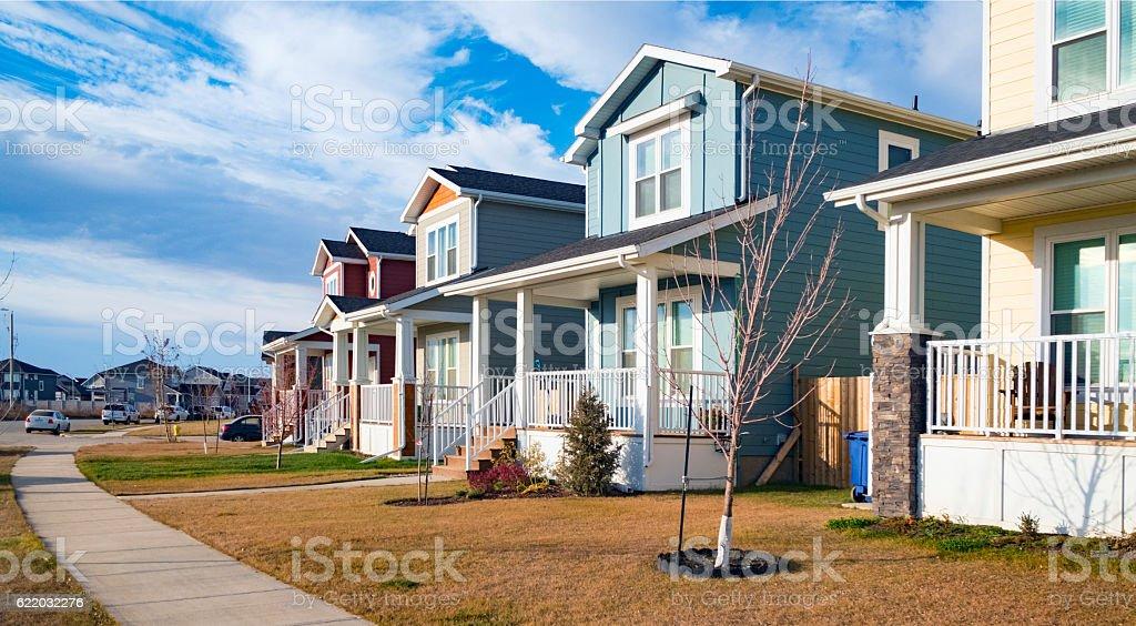 Row of Saskatoon Single Family Houses in New Neighbourhood stock photo