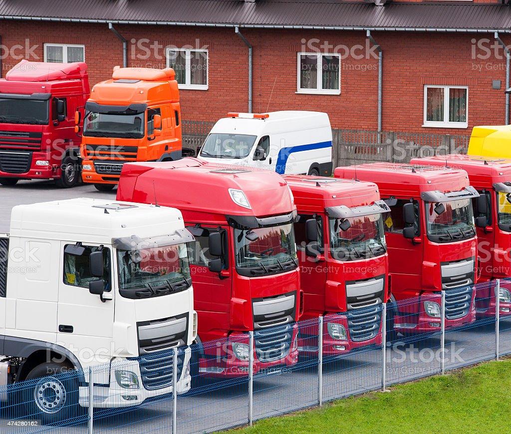 Row of Semi Trucks at Dealership stock photo