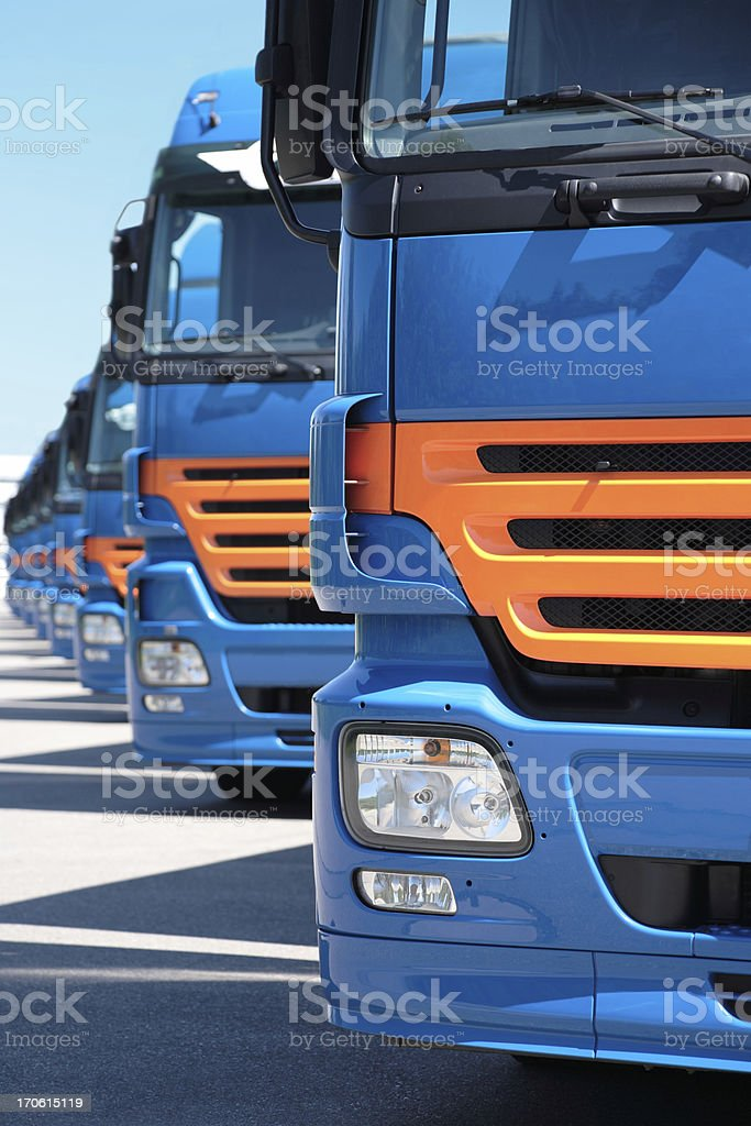 Row of Semi Trucks stock photo