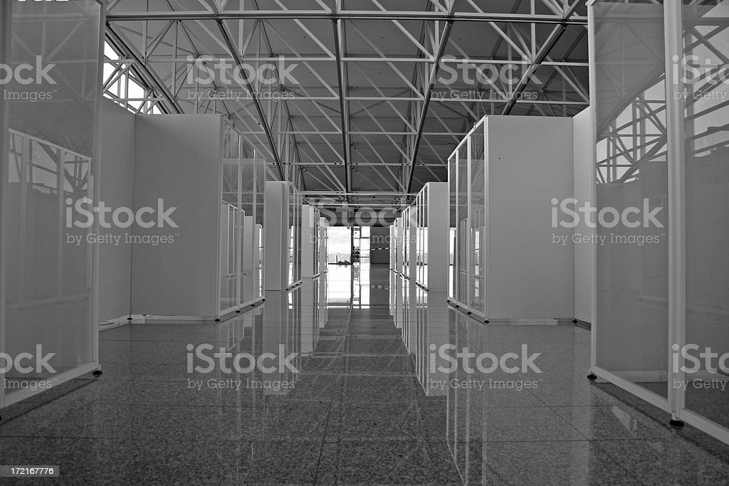 Row of server racks, black&white royalty-free stock photo