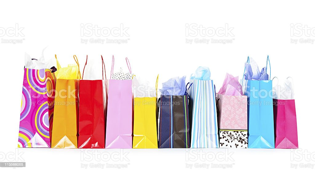 Row of shopping bags stock photo