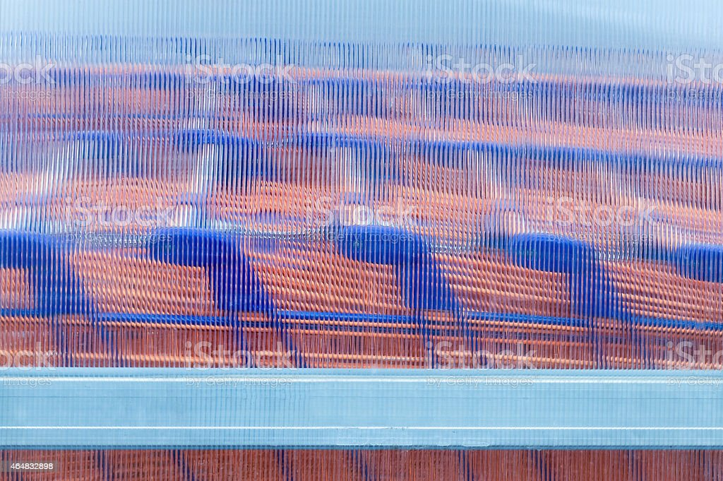 Row of shopping carts in the parking lot stock photo