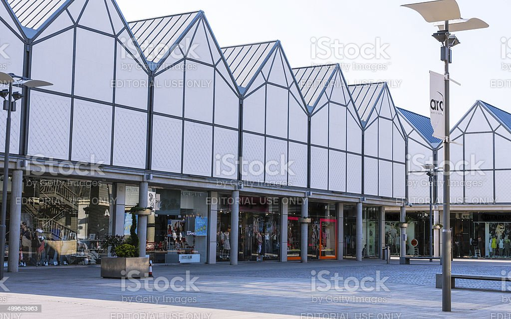 Row of shops in ARC Bury St Edmunds town centre stock photo