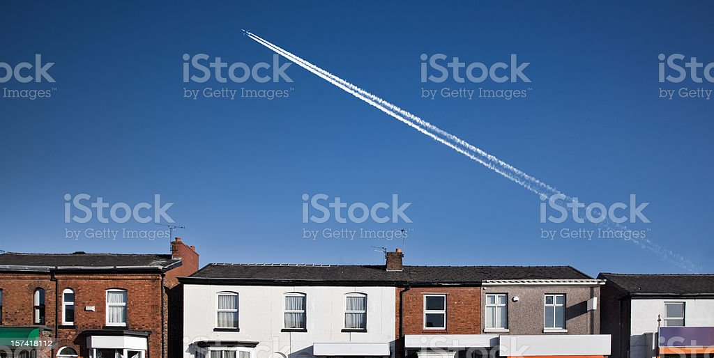Row of Shops with Airplane-Click for related images royalty-free stock photo