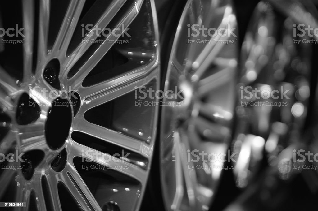Row of silver alloy rims stock photo