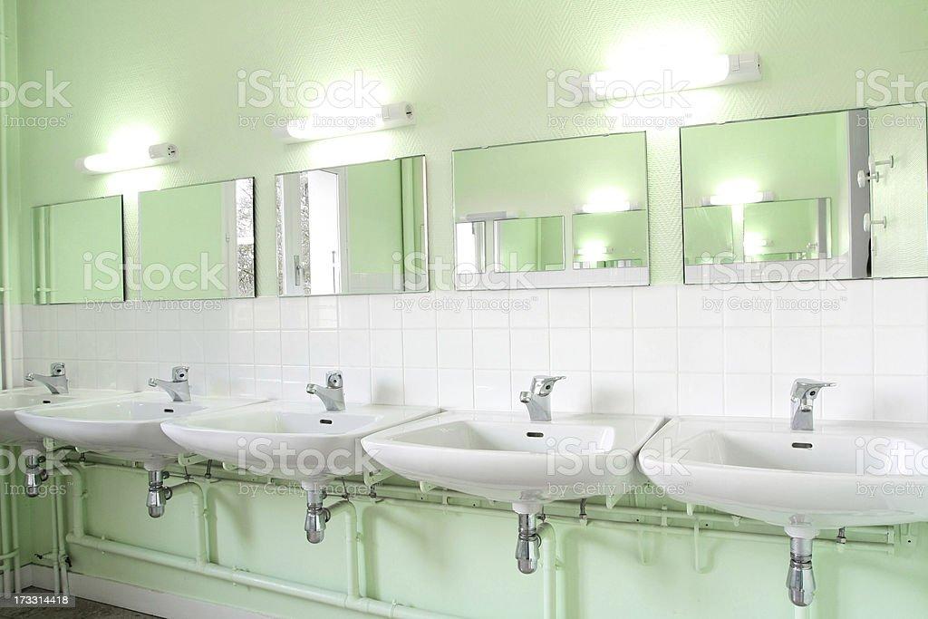 Row of sinks stock photo