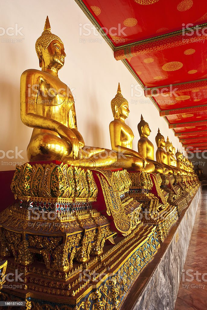 row of sitting buddha royalty-free stock photo